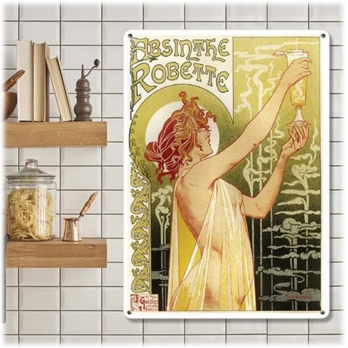 Plaque métal rétro 'Absinthe Robette' vert jaune - 20x15 cm [A0634]
