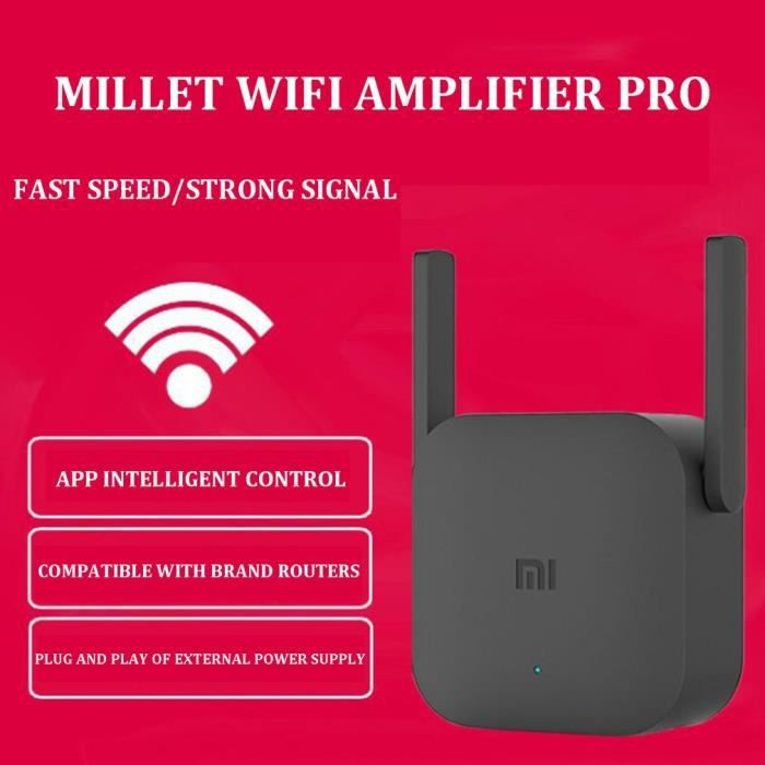 Amplificateur WiFi 300M 2.4G avec 2 antennes pour routeur Mi noir Extender 2 antenne pour routeur Wi-Fi
