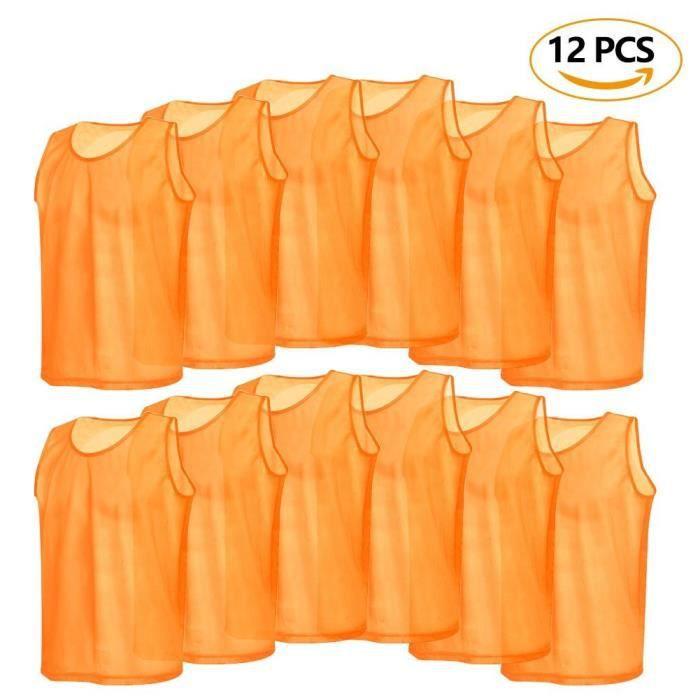 12pcs Maillots Gilet de Sport Chasuble Veste Survêtement Hommes d'Entraînement Respirant en Maille pour Football Basket-ball Rugby