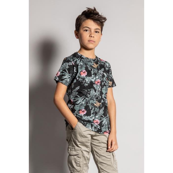 DEELUXE T-shirt à motif floral AMAZONIA Black
