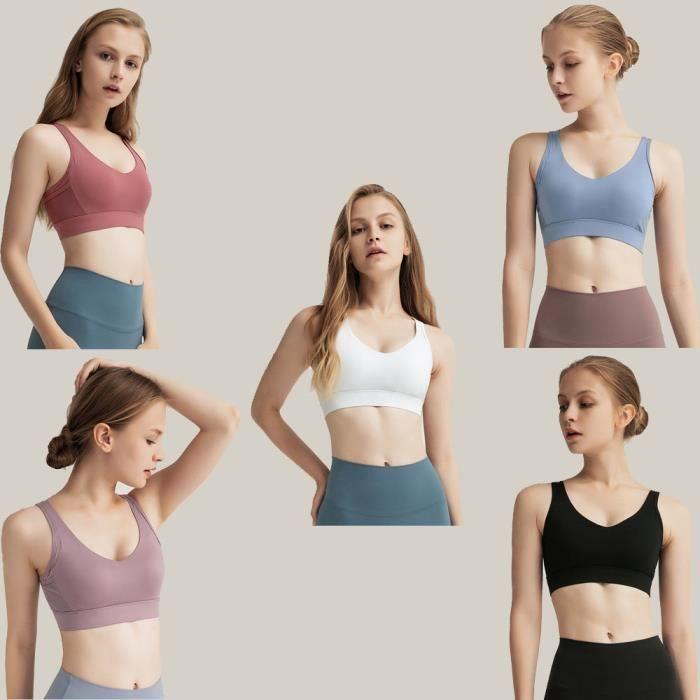 3 pièces Femme Soutien Gorge de Sport Bretelles Entrecroisées Uniques sous-vêtements Bra Brassière de Sport pour Jogging Yoga Gym