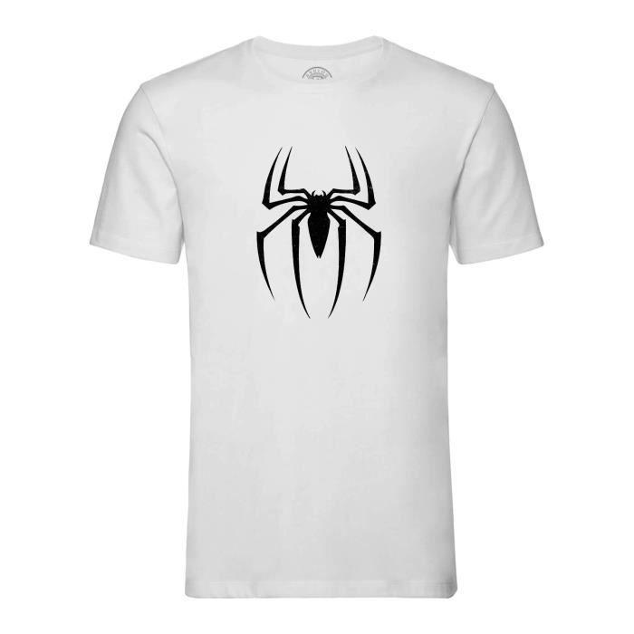 T-shirt Homme Col Rond Blanc Spiderman Logo Super Héros BD Film Geek