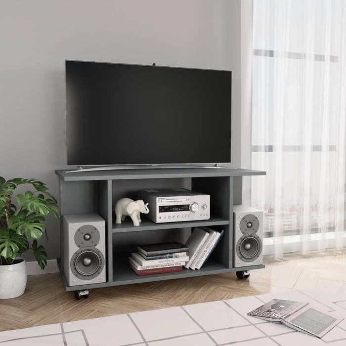 Meuble TV avec roulettes Gris 80 x 40 x 40 cm Aggloméré