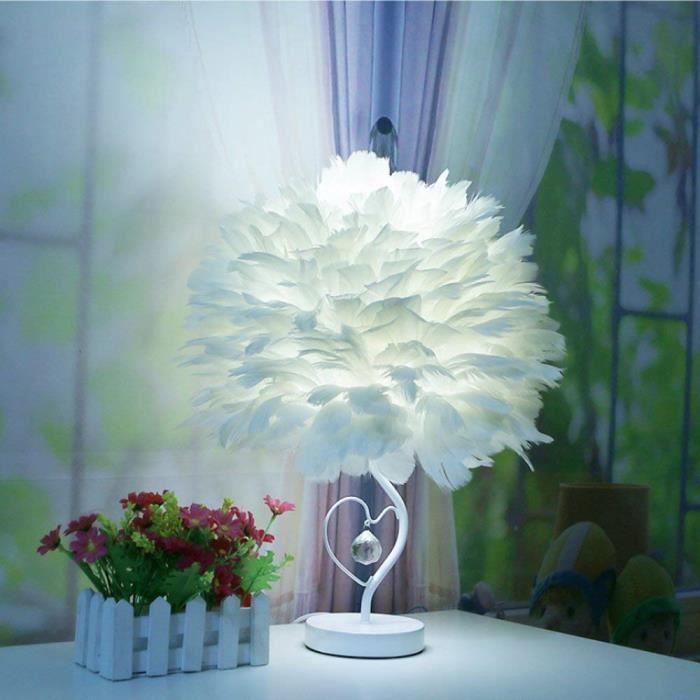 Lampe de table en plume cristal lecture de chevet forme cœur salons chambre E27 30cm