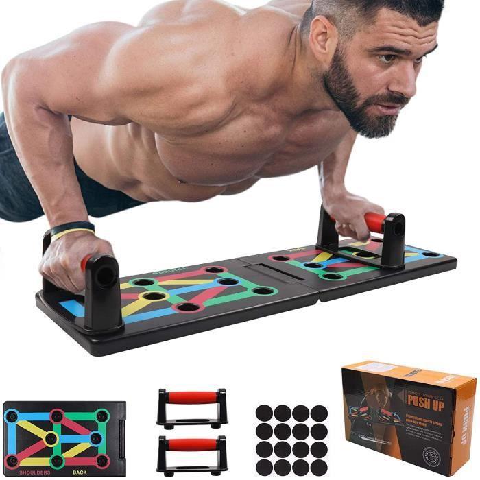 Push Up Board Tableau,Planche à Pompe Traction Amovible Portable Fitness Entraînement de Force 12 en 1 Programme d'entraînement