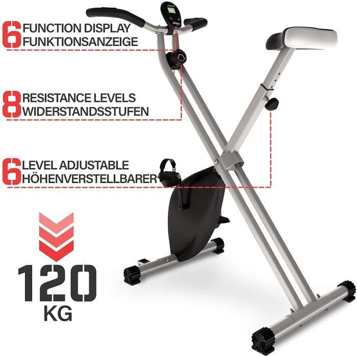 Physionics® Vélo d'Appartement - Pliable, Écran LCD, Selle Réglable, 8 Niveaux de Résistance - Vélo d'Exercice, Fitness, Intérieur