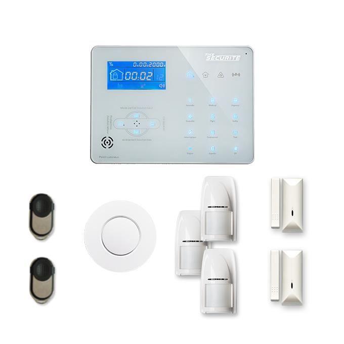Alarme maison sans fil ICE-B 2 à 3 pièces mouvement + intrusion + détecteur de fumée - Compatible Box internet