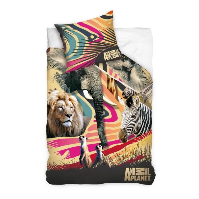 animal planet animaux sauvage housse de couette achat vente housse de couette cdiscount. Black Bedroom Furniture Sets. Home Design Ideas