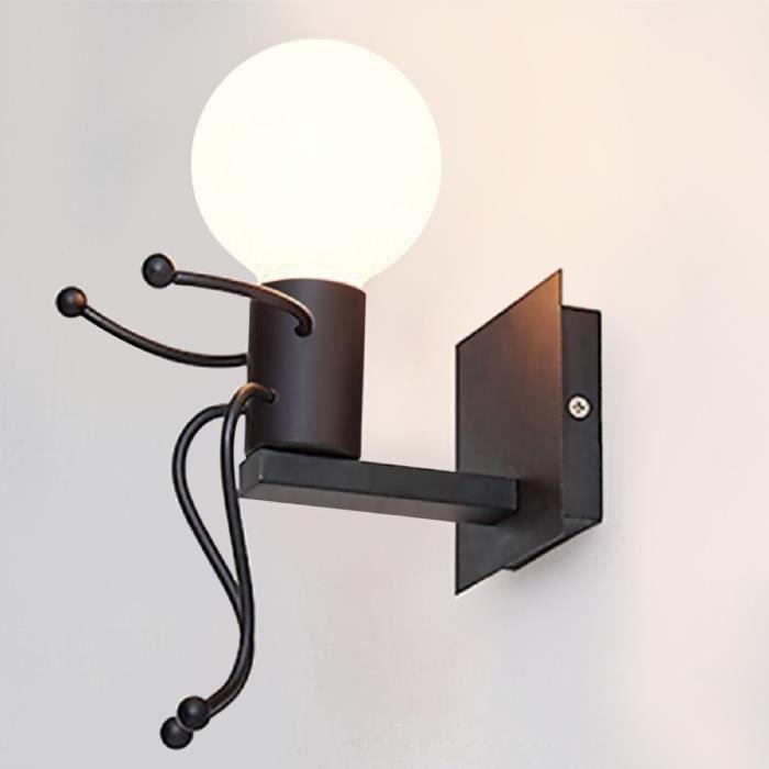 Lampe murale moderne noir murale éclairage e27 nouveau verre couloir éclairage intérieur
