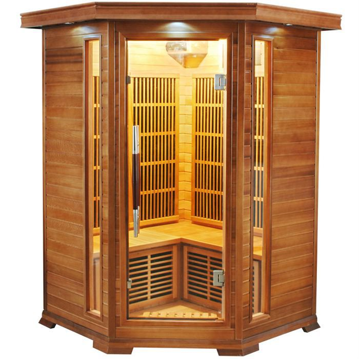 sauna d 39 angle infrarouge luxe 2 3 places achat vente. Black Bedroom Furniture Sets. Home Design Ideas