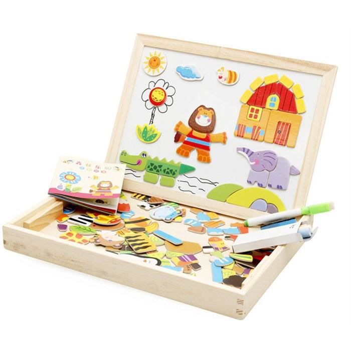 jouets en bois multifonctionnel jouets ducatifs avec bo te magn tique jeu chevalet doodle. Black Bedroom Furniture Sets. Home Design Ideas