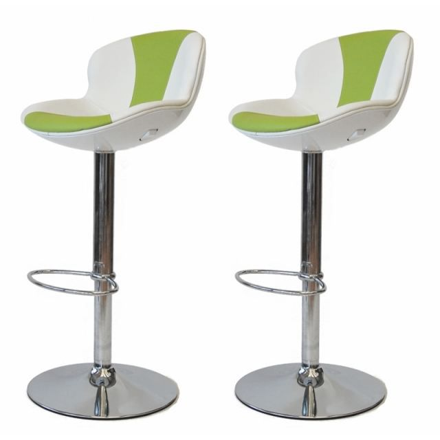 tabouret de bar blanc vert x2 golf achat vente tabouret de bar cdiscount. Black Bedroom Furniture Sets. Home Design Ideas