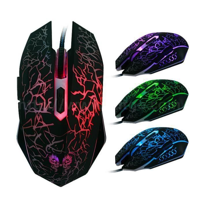 souris gamer filaire souris de jeu avec 6 boutons en lumi re multicolor e 4000 dpi haute. Black Bedroom Furniture Sets. Home Design Ideas