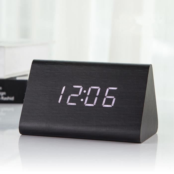 reveil matin horloge a poser en bois digital led blanc pendules montre alarm clock triangle. Black Bedroom Furniture Sets. Home Design Ideas