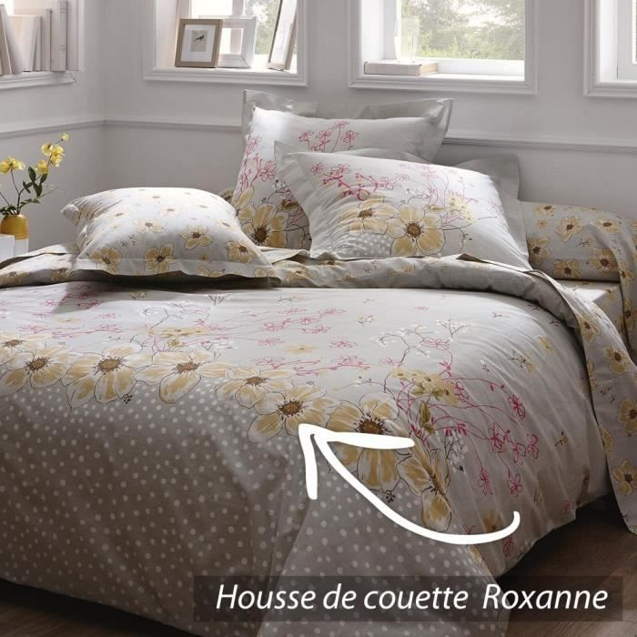 housse de couette 140x200 cm 100 coton roxanne achat. Black Bedroom Furniture Sets. Home Design Ideas