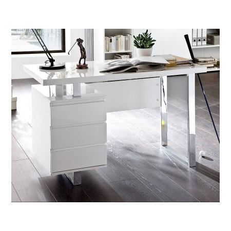 bureau design blanc laqu avec rangement numa achat. Black Bedroom Furniture Sets. Home Design Ideas
