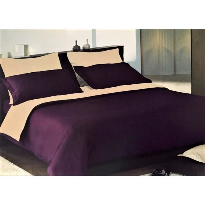 housse de couette bicolore prune et cru satin de coton 120 fils cm 200x200 achat vente. Black Bedroom Furniture Sets. Home Design Ideas