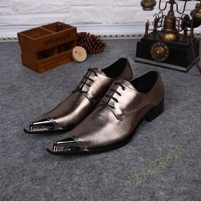 Mode Shinny Sliver Chaussures de mariage Hommes Robe Chaussures Flats Casual Business Style authentique Oxfords Chaussures en cuir COHHqSr