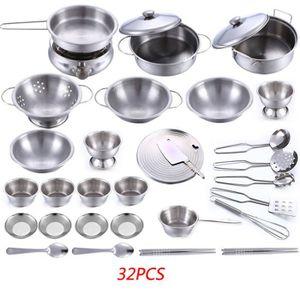 DINETTE - CUISINE 32 pcs en acier inoxydable enfants maison cuisine