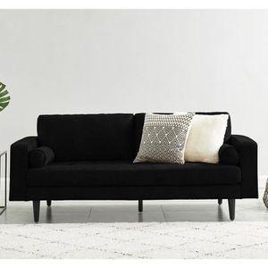 CANAPÉ - SOFA - DIVAN Canapé droit 3 places en simili cuir noir - Collec