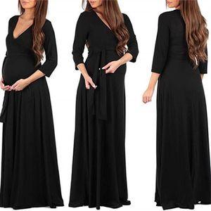 ROBE Femme enceinte Mode Wrap robe de maternité Ceintur