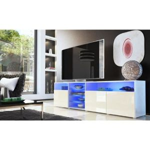 MEUBLE TV Meuble tv bas blanc / crème 194 cm