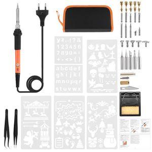 Amzdeal Kit Fer /à Souder Electrique Kit de soudage R/églable Temp/érature 60W//220V Temp/érature R/églable avec 5 PCS Points Diff/érents pour Divers R/éparation Kit de 17