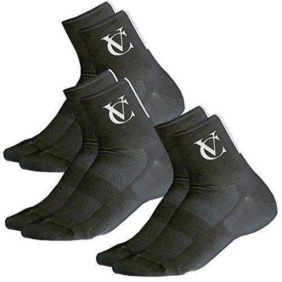 Chaussettes Respirantes pour Cyclisme Fitness VeloChampion Chaussettes de Cyclisme Speed Line Coolmax Course /à Pied - Noir ou Blanc ou Jaune Lot de 3