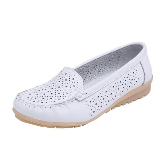 Femmes Flats Shoes Genuine Leather Shoes Cutout Loafers Slip On Ballet Flats Shoe blanc Blanc Blanc - Achat / Vente slip-on