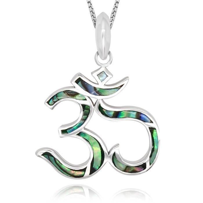 Chaine De Cou Vendue Seule Femmes Argent 925 Abalone, Nacre, Turquoise Yoga Chakra Om Aum Ohm Symbole Penda U5Z72