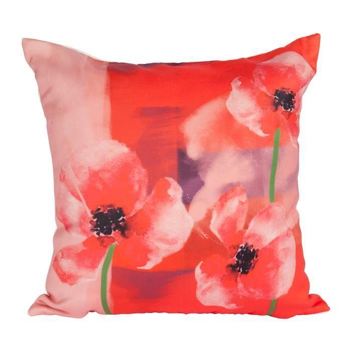 Housse de coussin 40x40 cm, 3 Coquelicots fond rouge et rose pastel finition de qualité