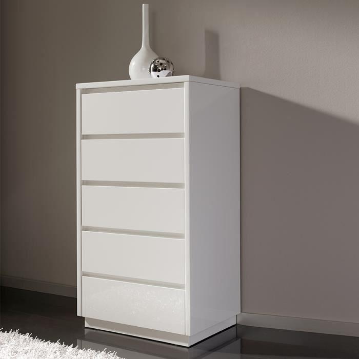 Chiffonnier blanc laqué 5 tiroirs MELINA Blanc L 61 x P 45 x H 112 cm