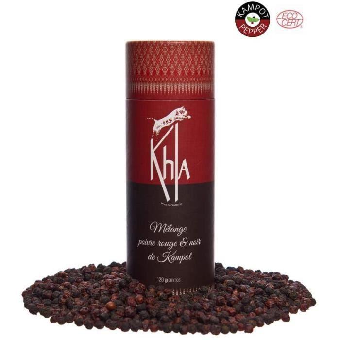 KHLA - Mélange de Poivre de Kampot Noir et Rouge Premium IGP - 120g - Poivre en Grains - Issu de l'Agriculture Biologique