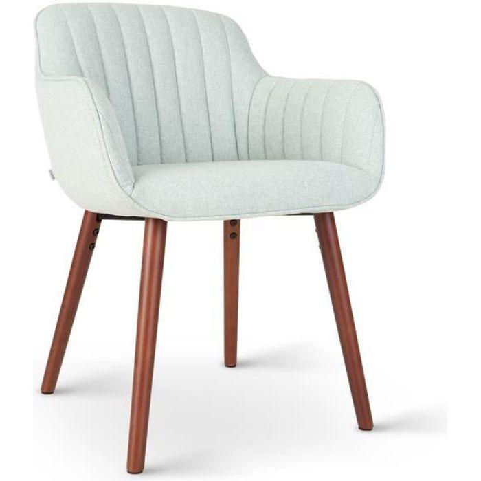 Besoa Iris Chaise rembourrée de mousse - Coque design moderne - Pieds stables en bois rustique - Revêtement vert clair