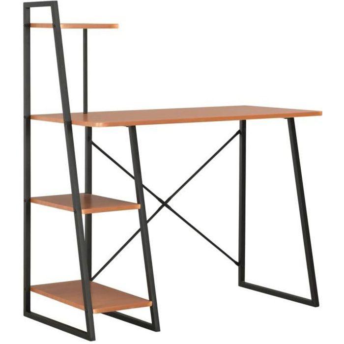 Bureau avec étagère-Table de bureau Étagère de rangement Bureau informatique design industriel Noir et marron 102x50x117 cm