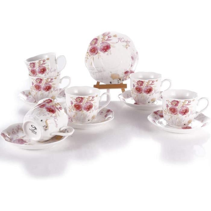 Ensembles de 6 Tasse à Café Porcelaine Fine - 220ml Grande New Bone China Rétro et Rose Pattern Vintage Service à Thé de Table Tasse