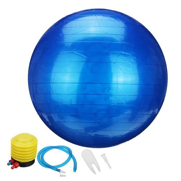 Ballon de Yoga 55cm Fitness Sport Exercice + Pompe Bleu