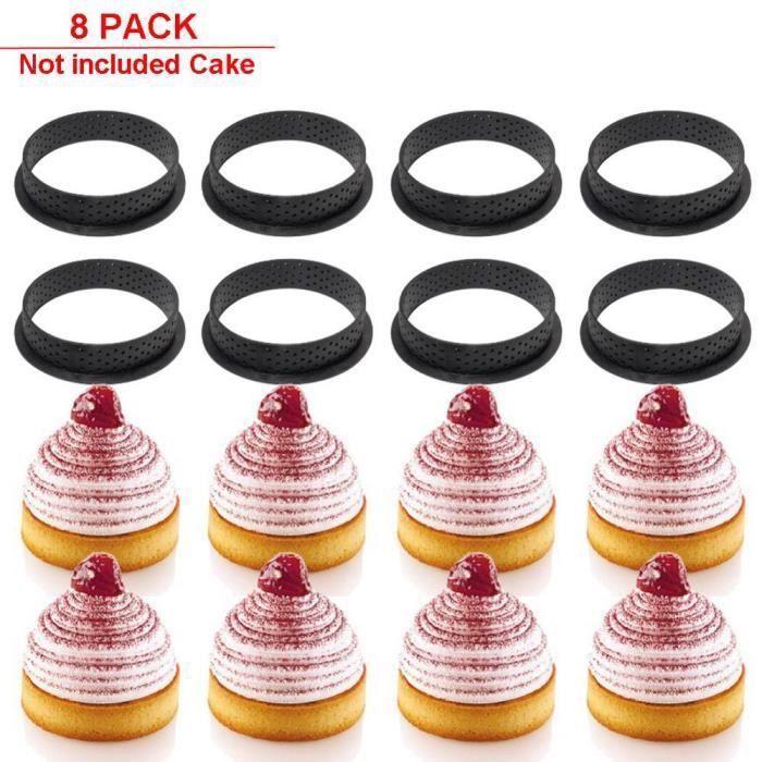 Moules à gâteau,8 pièces moule tartelette cercle tartelette bricolage Silicone moule gâteau outils français Dessert - Type Round