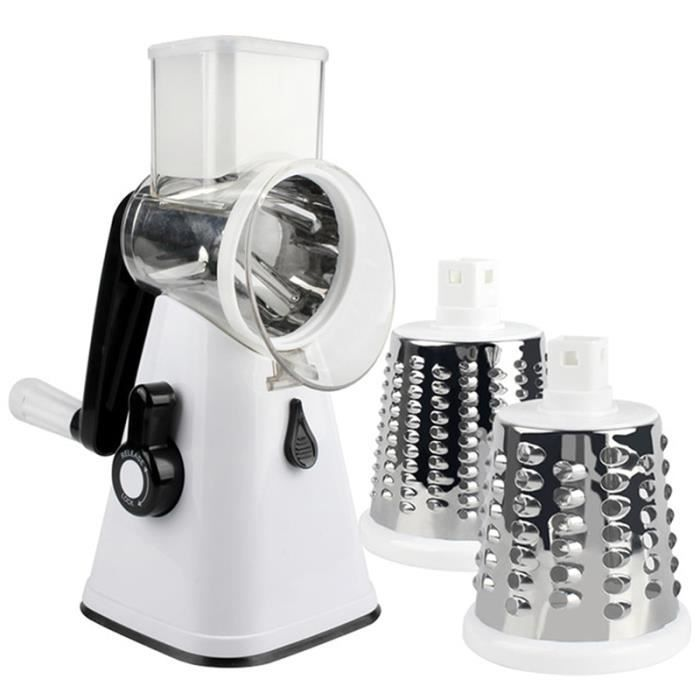 Hachoir manuel,3 en 1 multi fonction tambour Cutter trancheuse rotatif râpe robot culinaire pour carotte fromage - Type white