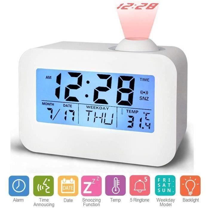 Alarme Réveil Projecteur de l'Heure et Température Intérieure, Réveil Projection Plafond, Horloge Numerique avec Double Alarmes