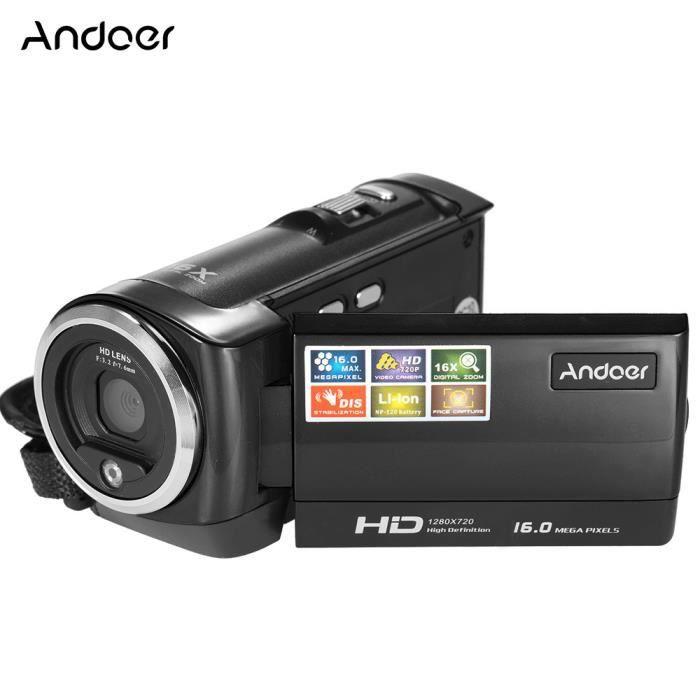 Andoer Ecran LCD Mini Portable DV HD 16MP Zoom Digital 16X avec 720 P 30 FPS Anti Tremblements Caméra Vidéo Numérique(noir)