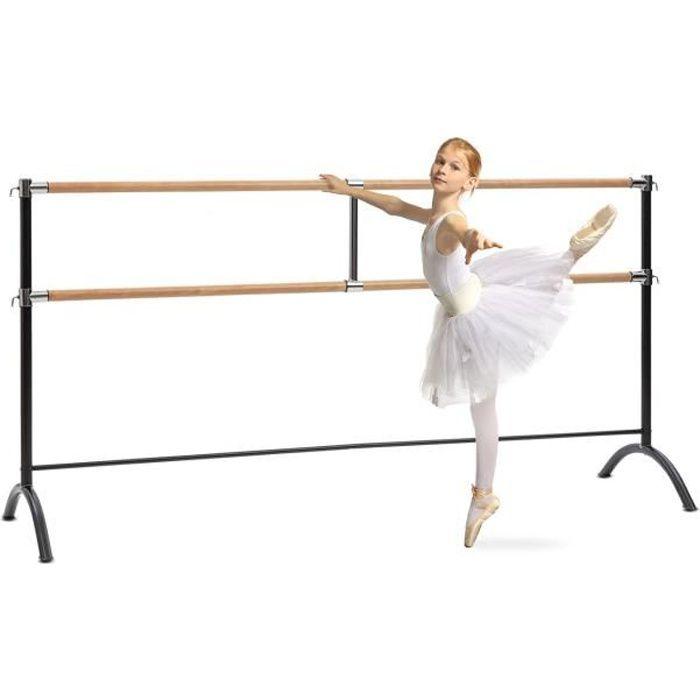 Klarfit Barre Marie Double Barre de danse classique - entraînement ballet 220 x 113cm - hauteur réglable - pose libre - acier