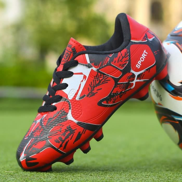 Couple Chaussures de football antidérapantes en plein air pour enfants Chaussures de football d'entraînement basses rouge