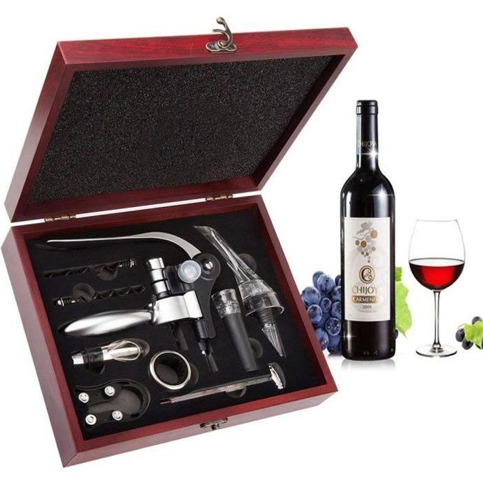 Tire-bouchon,Netboat Lapin Style 9 Pcs Ouvre-vin avec Aérateur Thermomètre Caisse en Bois Gift Set