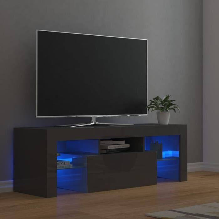 4888lOVE® Meuble TV Vintage Design-Armoire TV avec lumières LED,Banc TV,Table Salon Gris brillant 120x35x40 cm