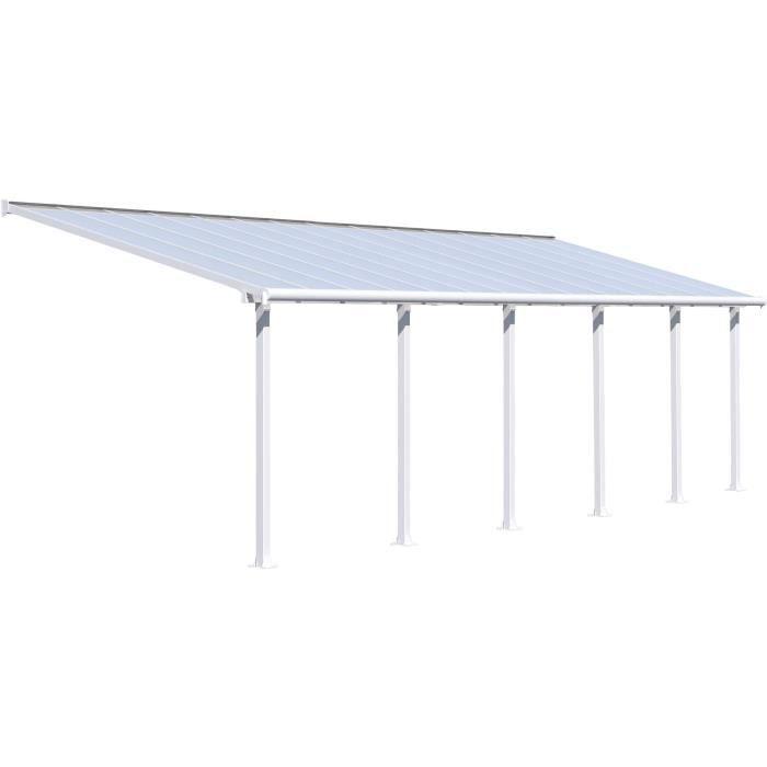 Pergola adossée Olympia 25,5 m² - Aluminium et polycarbonate - Blanc - PALRAM