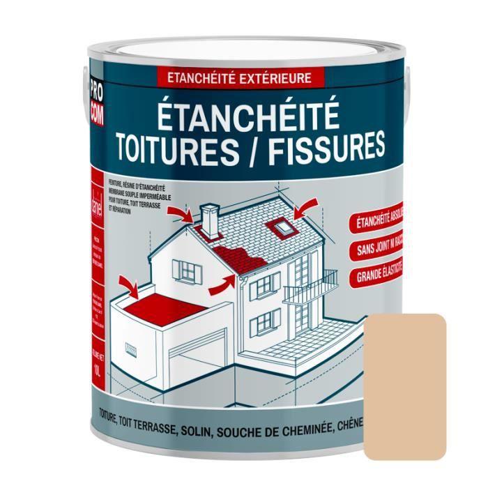 Peinture d'étanchéité pour toiture, réparation tuiles, fissures, anti-fuites, anti-mousse, décore et protège 0.75 litresPaille 0,75