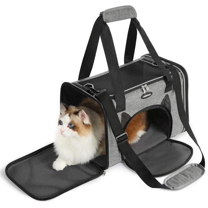 Rabbitgoo Sac Transport Chat Chien, Caisse Transport Pliable à 4 portes, avec Tapis Doux pour Petit Chat et Chiot, 42×27×27cm Gris
