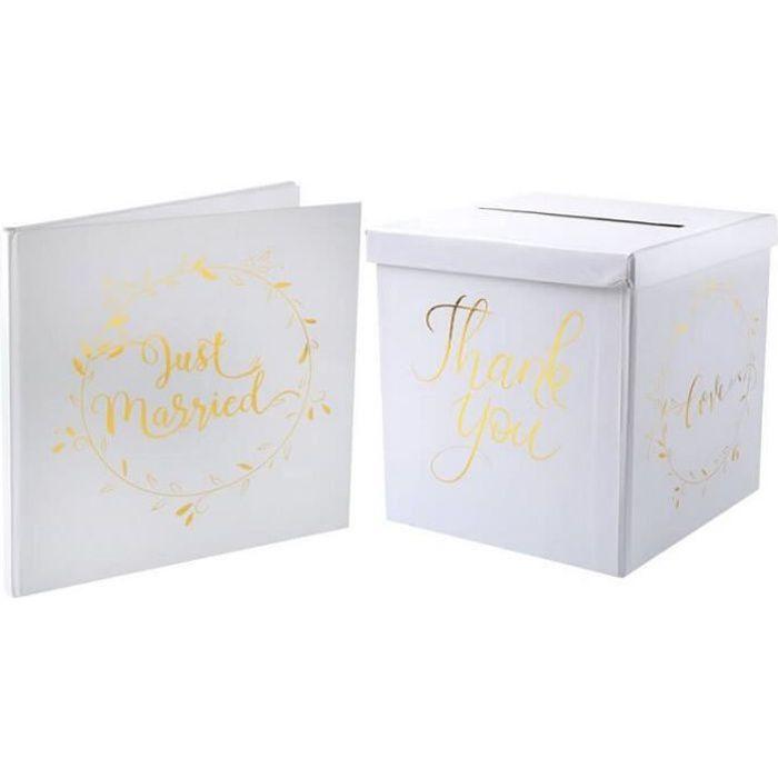 1 Pack Tirelire et livre d'or mariage blanc et or