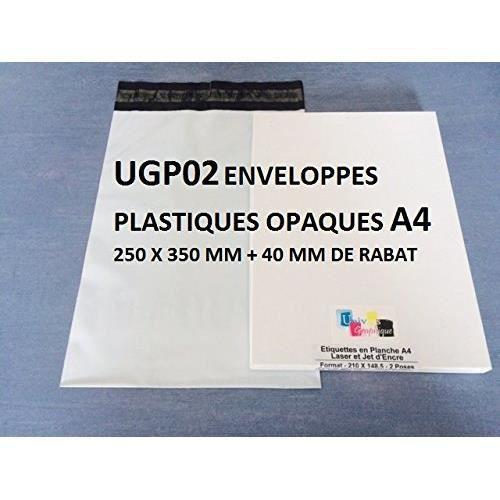 5 enveloppe plastique d'envoi 25 x 35 cm + 5 étiquettes Colissimo. kit d'envoi pour cadeau, livres, textile, produit A4. Kit de 5 e
